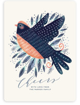 This is a blue non photo holiday card by iamtanya called Peaceful Bird with standard printing on signature in standard.