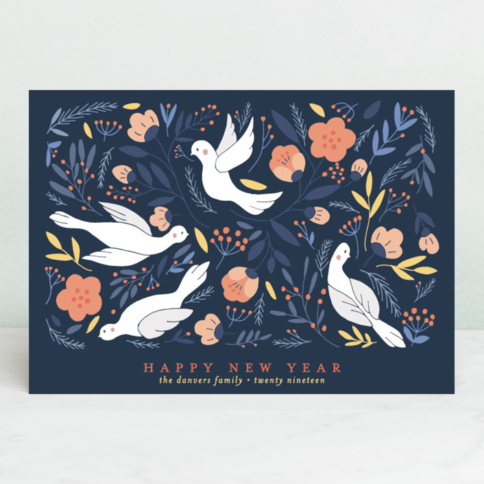 """""""Birds Botanical Peace"""" - Vintage Holiday Cards in Midnight by curiouszhi design."""