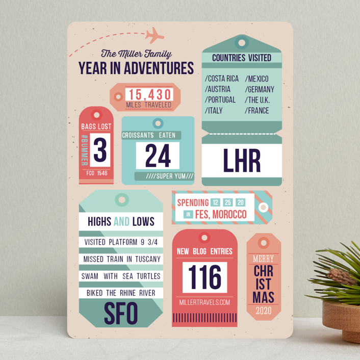 """""""Year in Adventures"""" - Holiday Cards in Peach by Jackie Crawford."""
