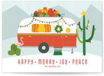 This is a orange non photo holiday card by Kamala Nahas called happy trails with standard printing on signature in standard.