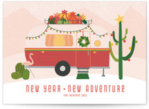 This is a pink non photo holiday card by Kamala Nahas called happy trails with standard printing on signature in standard.