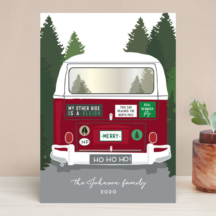 """Santa's Other Ride"" - Funny Holiday Cards in Cherry by Heather Azano-Brown."