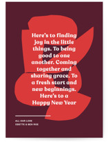 This is a red non photo holiday card by Annie Clark called Ellsworth with standard printing on signature in standard.