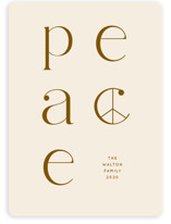 This is a brown non photo holiday card by Baumbirdy called lined peace with standard printing on signature in standard.