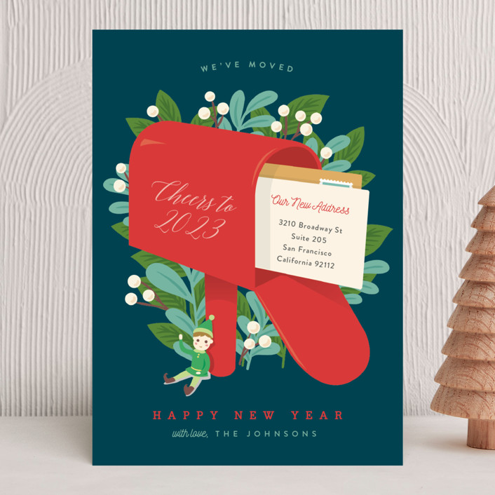 """Red Mailbox"" - Holiday Cards in Celestial by Four Wet Feet Studio."