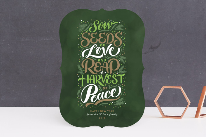 """Peace Harvest"" - Holiday Cards in Olive by Laura Bolter Design."