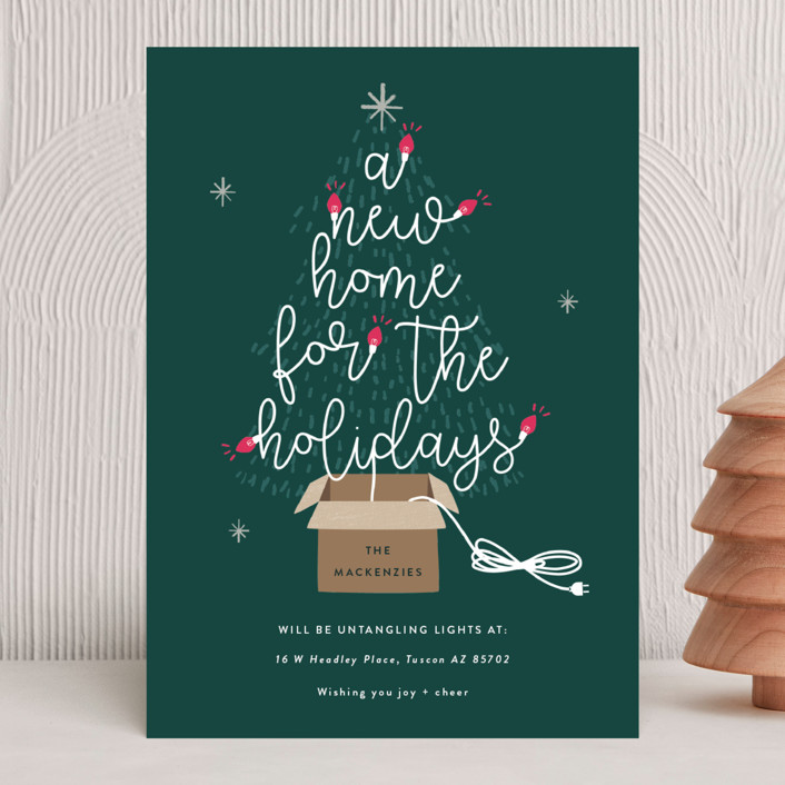 """""""Twinkling New Home"""" - Holiday Cards in Spruce by Bonjour Berry."""