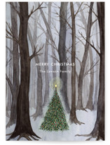 This is a grey non photo holiday card by Karina Racz called Silent Night Woods with standard printing on signature in standard.