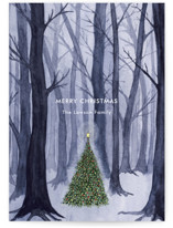 This is a blue non photo holiday card by Karina Racz called Silent Night Woods with standard printing on signature in standard.