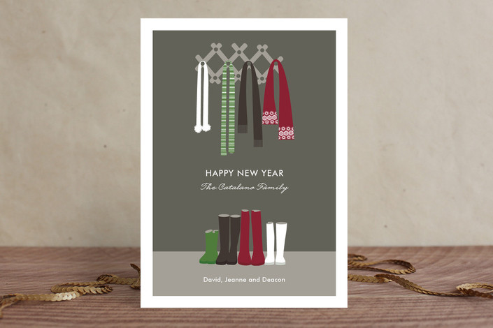 """Warm Winter Scarves"" - Modern Holiday Cards in Cranberry by Olivia Raufman."