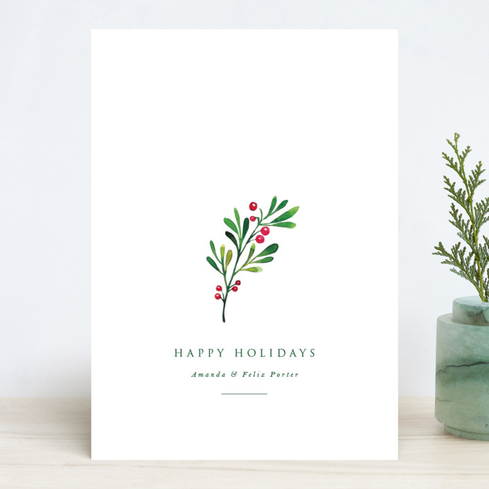 """Simple Holly"" - Holiday Cards in Snow by Nicole Walsh."