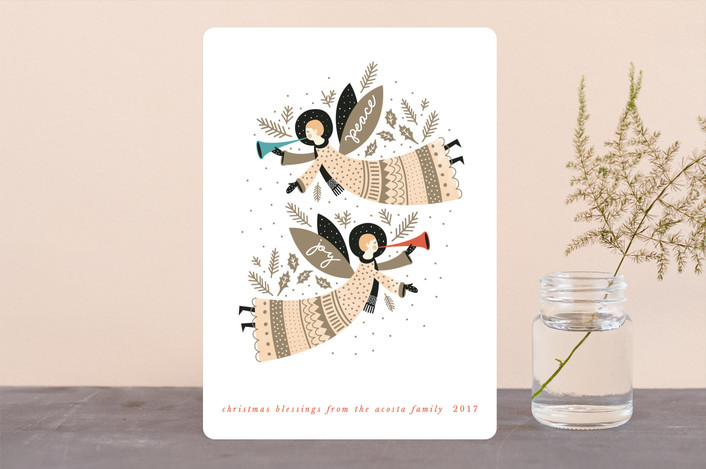 """""""Peace and Joy Angels"""" - Vintage Holiday Cards in Earth by Eve Schultz."""