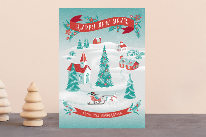 """""""Christmas Village"""" - Vintage Holiday Cards in Winter by Paper Sun Studio."""