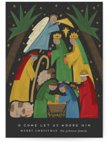 This is a grey non photo holiday card by Joanna Griffin called Adore Him with standard printing on signature in standard.