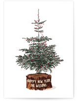 This is a white non photo holiday card by Baumbirdy called Tree Logged with standard printing on signature in standard.