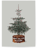 This is a grey non photo holiday card by Baumbirdy called Tree Logged with standard printing on signature in standard.