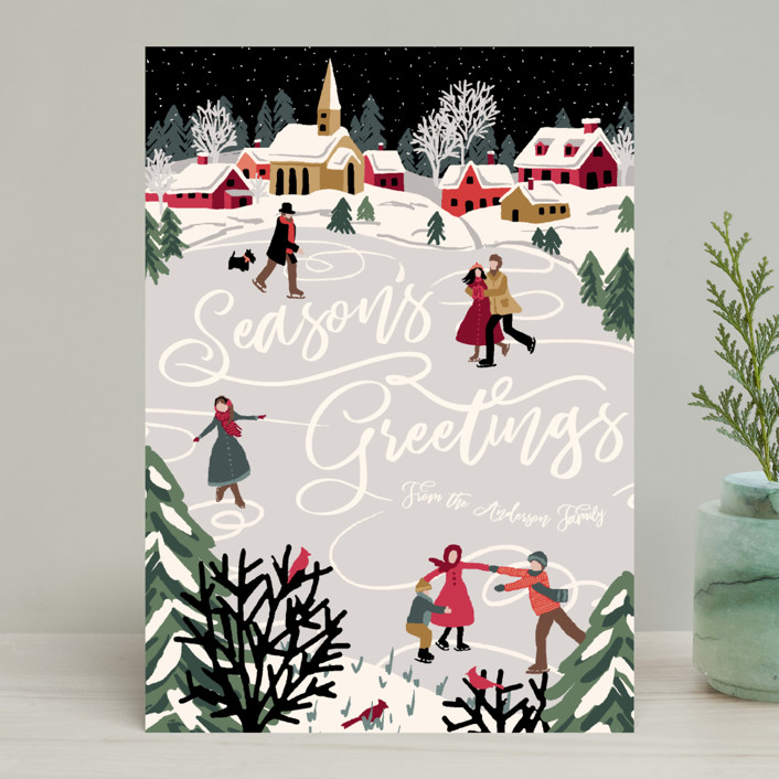 """""""Winter Skate"""" - Holiday Cards in Midnight by Meggy Masters."""