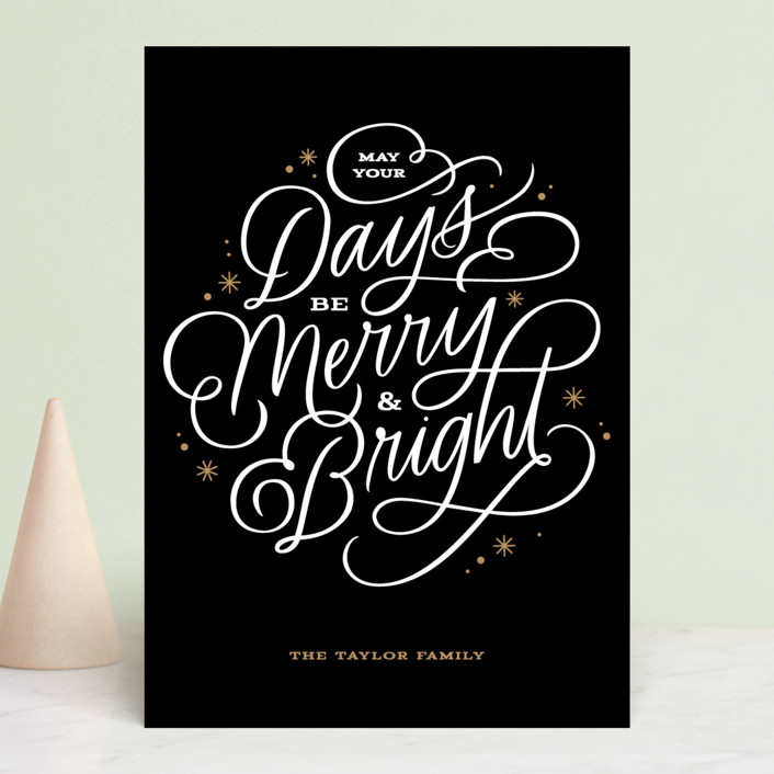 """Scripted Merry"" - Holiday Cards in Tuxedo by Kristen Smith."