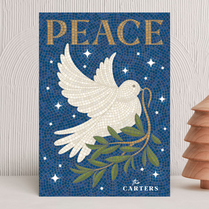 """Mosaic Of Peace"" - Bohemian Holiday Cards in Navy by GeekInk Design."