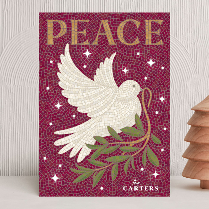"""""""Mosaic Of Peace"""" - Bohemian Holiday Cards in Plum by GeekInk Design."""