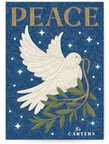 This is a blue non photo holiday card by GeekInk Design called Mosaic Of Peace with standard printing on signature in standard.