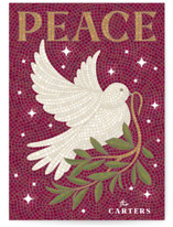 This is a red non photo holiday card by GeekInk Design called Mosaic Of Peace with standard printing on signature in standard.