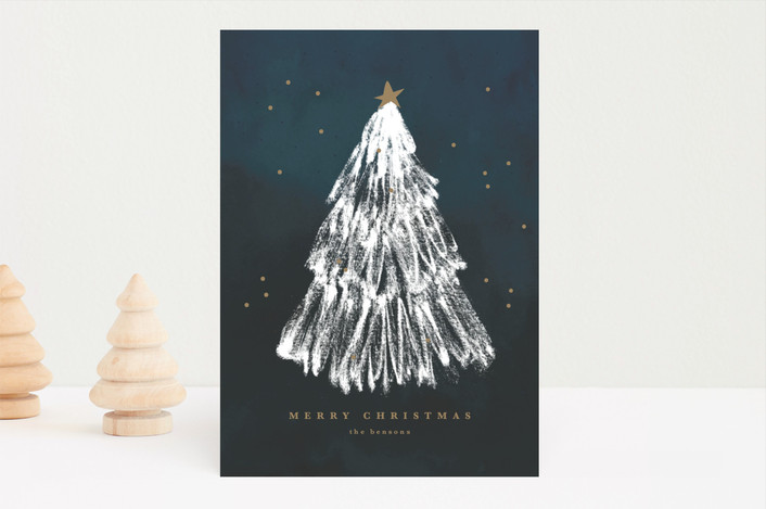 """White Christmas"" - Modern Holiday Cards in Peace by Sweta Modi."