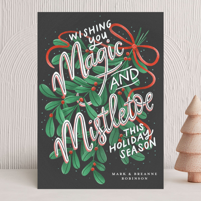 """""""Magic and Mistletoe"""" - Vintage Holiday Cards in Coal by Lissabeth Anglin."""