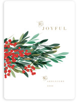 This is a red non photo holiday card by Kristie Kern called Burst of Joy with standard printing on signature in standard.