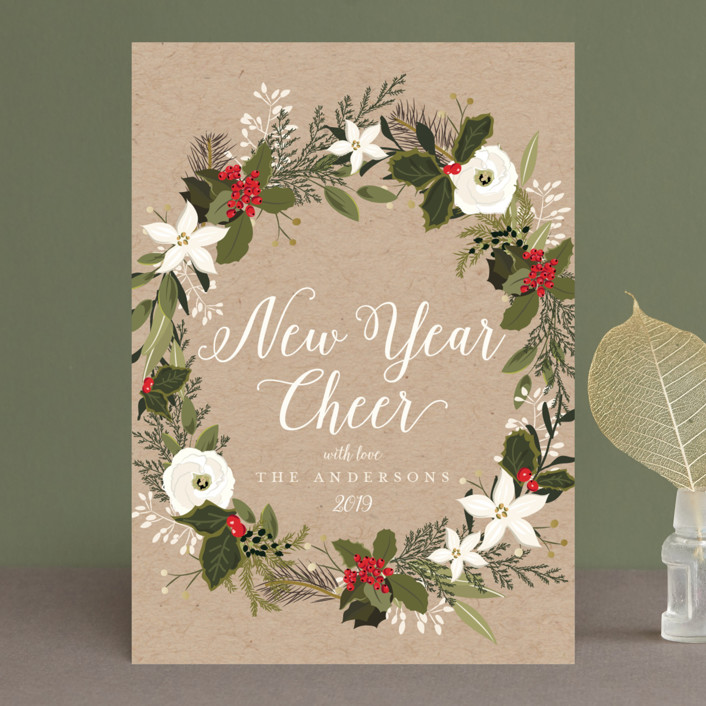 """Floral & Pine Wreath"" - Holiday Cards in Kraft by Susan Moyal."
