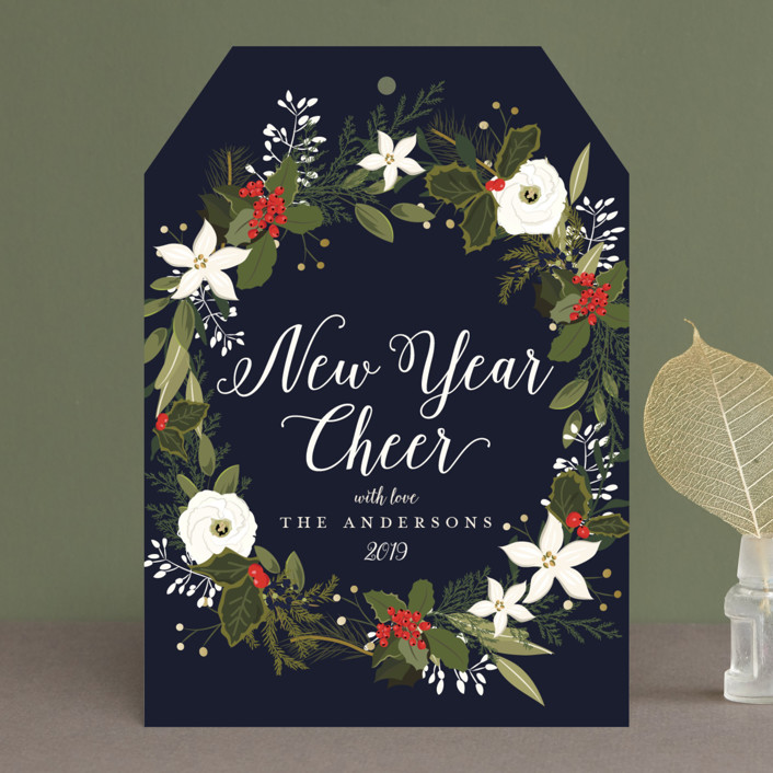 """""""Floral & Pine Wreath"""" - Holiday Cards in Kraft by Susan Moyal."""