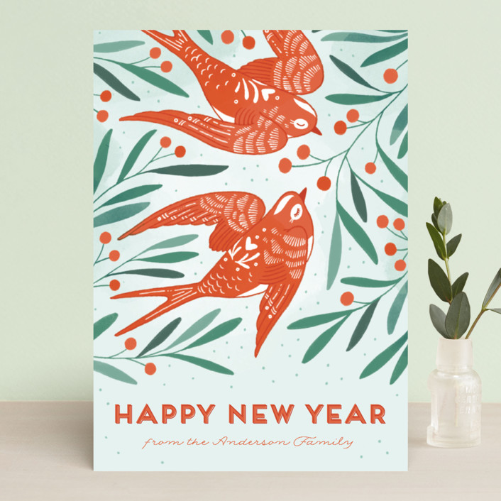 """Birds of Cheer"" - Holiday Cards in Evergreen by Paper Raven Co.."