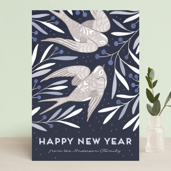 """""""Birds of Cheer"""" - Holiday Cards in Evergreen by Paper Raven Co.."""