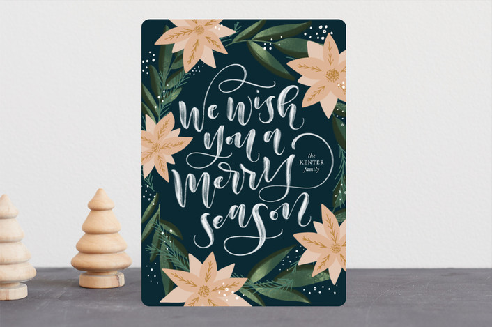 """""""Merry Wishes"""" - Holiday Cards in Navy by Leah Bisch."""