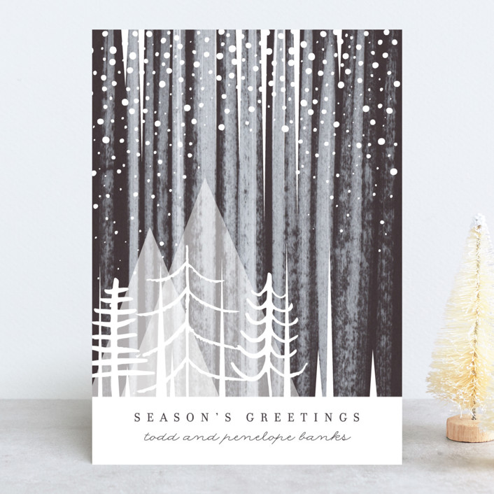 """""""Snowfall"""" - Bohemian Holiday Cards in Night by Baumbirdy."""