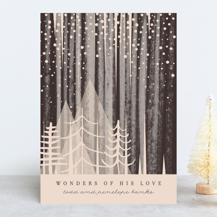 """Snowfall"" - Bohemian Holiday Cards in Night by Baumbirdy."