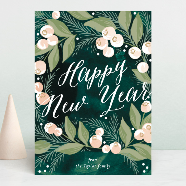 """""""winter berries"""" - Holiday Cards in Emerald by Alethea and Ruth."""