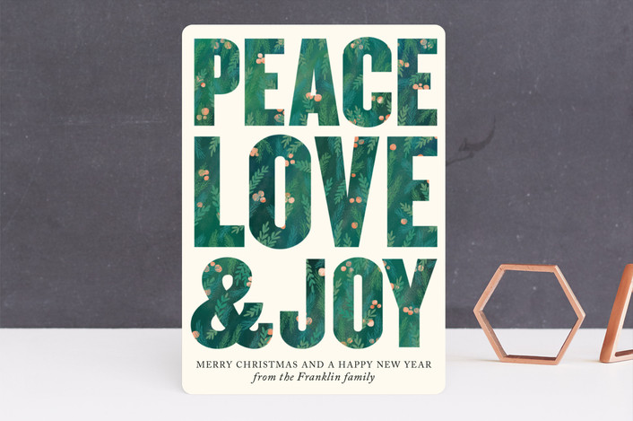 """Peace, Love and Joy"" - Modern Holiday Cards in Forest Green by Alexandra Dzh."