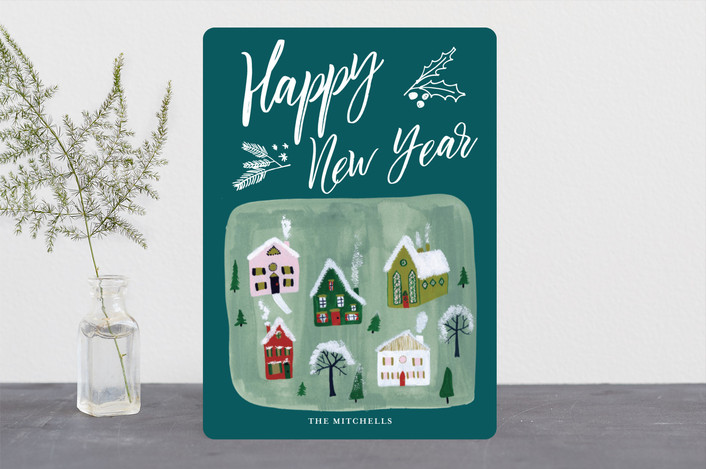 """Village Scene Holiday"" - Holiday Cards in Teal by Erika Firm."
