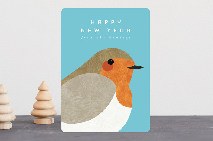 """""""Winter Robin"""" - Holiday Cards in Teal by Catherine Culvenor."""
