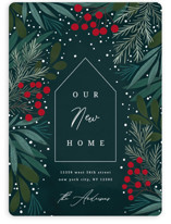 This is a green non photo holiday card by Yuliya Evseeva called sweet home with standard printing on signature in standard.