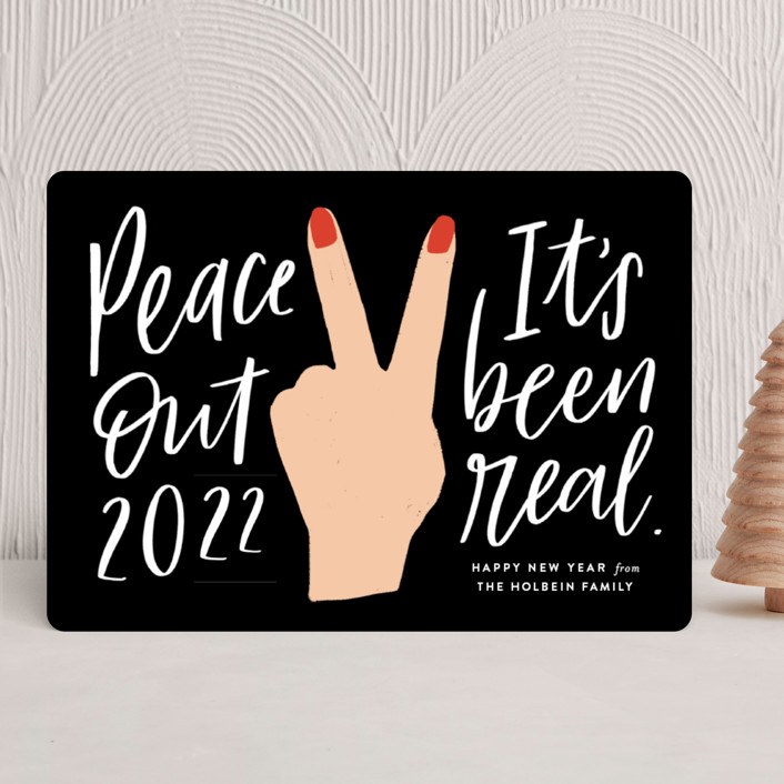 """""""peace out"""" - Modern Holiday Cards in Chalkboard by Frooted Design."""