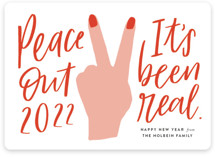 This is a red non photo holiday card by Tanya Lee of Frooted Design called peace out with standard printing on signature in standard.