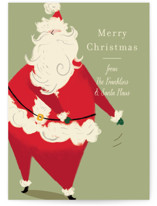 This is a green non photo holiday card by Baumbirdy called Santa Flaus with standard printing on signature in standard.