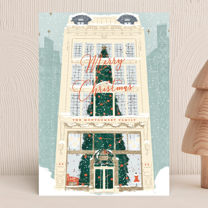 """""""Christmas Shopping"""" - Vintage Holiday Cards in Winter Sky by Gwen Bedat."""