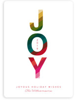 This is a red non photo holiday card by Karidy Walker called Colorful joy with standard printing on signature in standard.