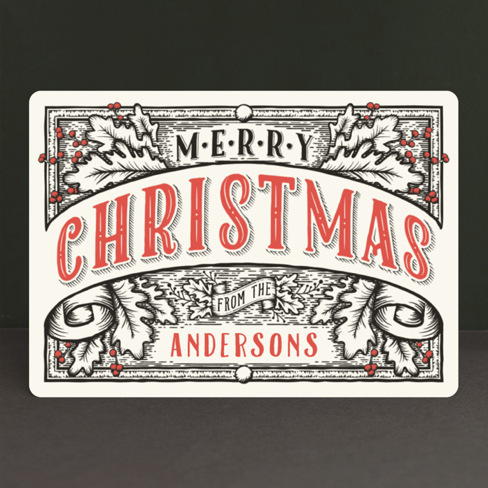 """""""Christmas Banner"""" - Vintage Holiday Cards in Ink by GeekInk Design."""