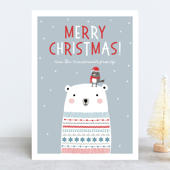 """Polar Bear Wishes"" - Holiday Cards in Azure by Stellax Creative."