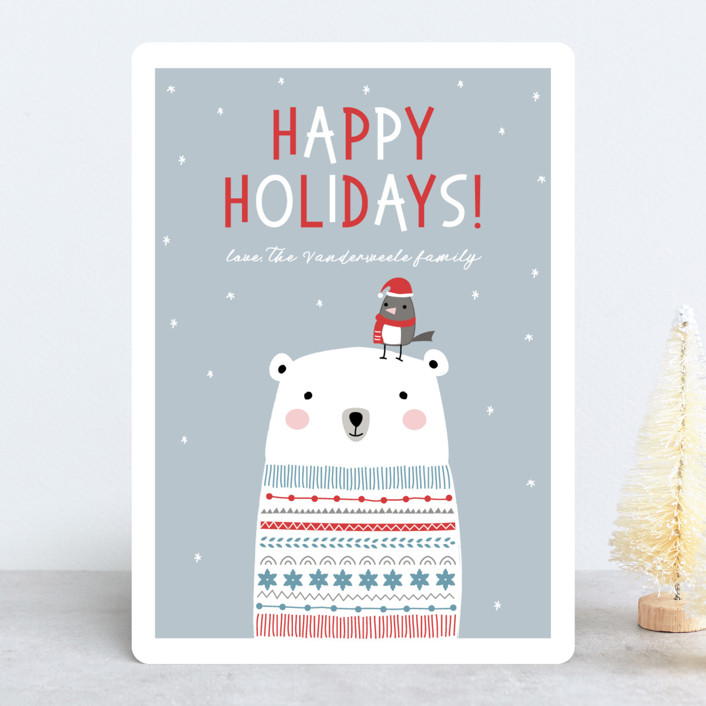 """Polar Bear Wishes"" - Holiday Cards in Dove by Stellax Creative."