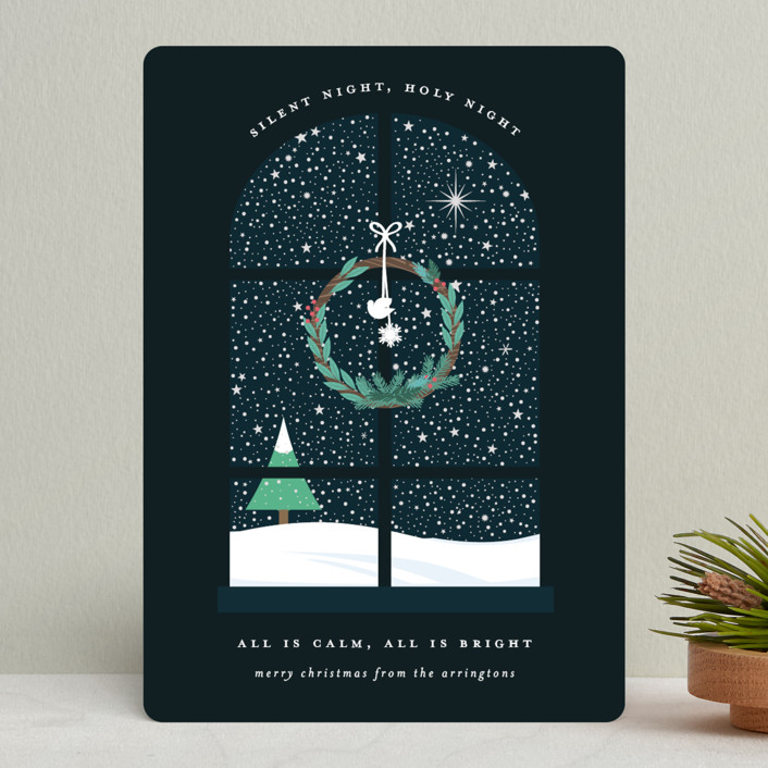 """""""Wintery Silent Night"""" - Holiday Cards in Midnight by Bonjour Berry."""